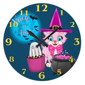 Relógio Grande Desenhos animados cor-de-rosa do Dia das Bruxas do