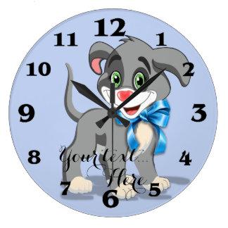 Relógio Grande Desenhos animados do filhote de cachorro do nariz