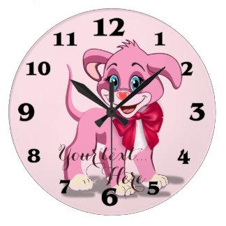 Relógio Grande Desenhos animados do filhote de cachorro do rosa