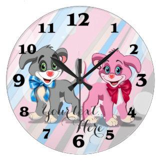 Relógio Grande Desenhos animados dos filhotes de cachorro do
