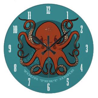 Relógio Grande Desenhos animados vermelhos ferozes dos tentáculos