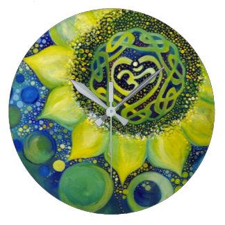 Relógio Grande Design amarelo de Chakra da coroa do girassol