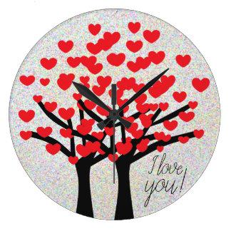 Relógio Grande Design bonito das árvores dos corações do amor