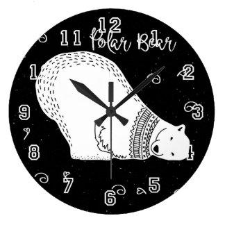 Relógio Grande Design bonito do urso polar em preto e branco