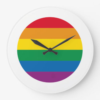 Relógio Grande Design colorido do arco-íris do orgulho  