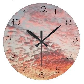 Relógio Grande Design cor-de-rosa bonito do por do sol do céu