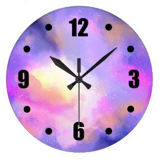 Relógio Grande Design de espaço abstrato em cor-de-rosa e amarelo
