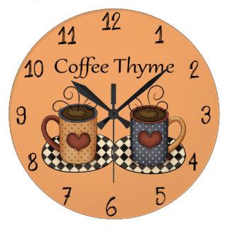 Relógio Grande Design do café da cozinha da arte de população