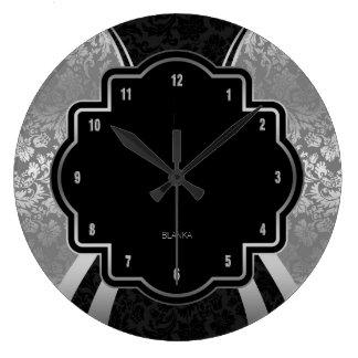Relógio Grande Design geométrico do damasco preto & de prata
