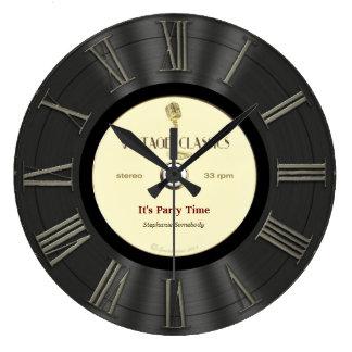 Relógio Grande Design impresso retro do registro de vinil