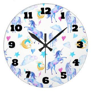 Relógio Grande Design mágico da fantasia da aguarela do teste