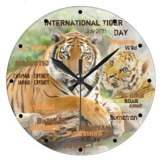 Relógio Grande Dia internacional do tigre, o 29 de julho, arte da