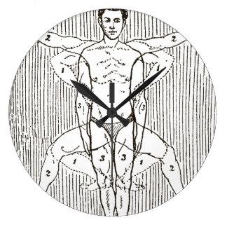 Relógio Grande Diagrama engraçado da natação do vintage
