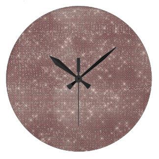 Relógio Grande Diamante bege do Sequin do marfim de Brown Sparkly