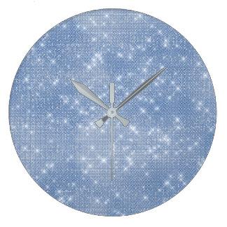 Relógio Grande Diamante celestial azul cinzento do Sequin Sparkly