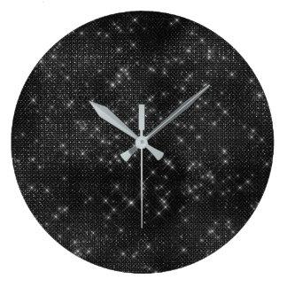 Relógio Grande Diamante cinzento preto do Sequin da noite