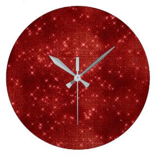 Relógio Grande Diamante metálico do Sequin marrom de Borgonha