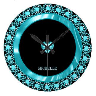 Relógio Grande Diamantes azuis Monogrammed