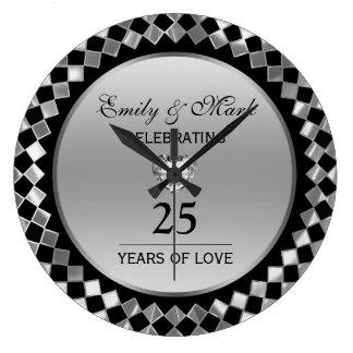 Relógio Grande Diamantes de prata e aniversário do coração 25o