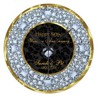 Relógio Grande Diamantes, preto & aniversário de casamento do