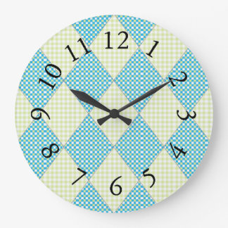Relógio Grande Diamond-Quilt-Harlequin_Blue & limão