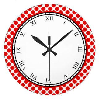 Relógio Grande Dígitos romanos das bolinhas coloridas vermelhos