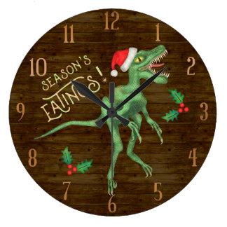 Relógio Grande Dinossauro engraçado Eatings do Velociraptor do