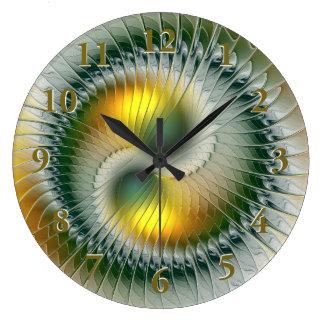 Relógio Grande Do abstrato verde do amarelo de Yin Yang Fractal