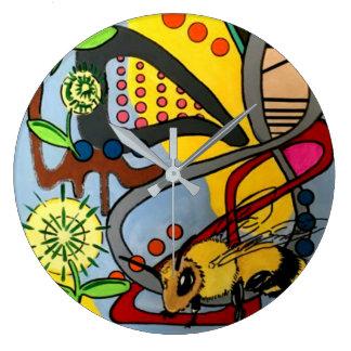 """Relógio Grande Do """"da abelha abstrata do jardim da modificação"""