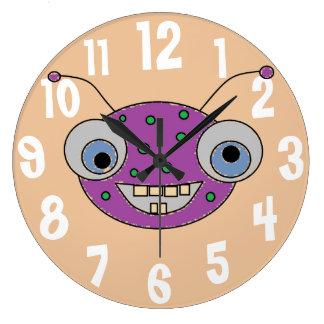 Relógio Grande Do monstro roxo Toothy do sorriso do divertimento