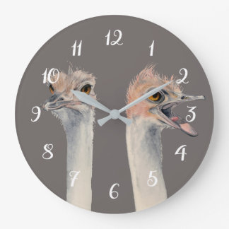 """Relógio Grande Do """"pintura engraçada das avestruzes da rainha"""