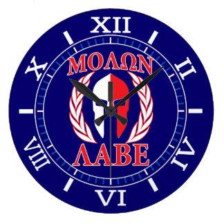 Relógio Grande Dos louros espartanos da máscara de Molon Labe