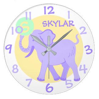 Relógio Grande Elefante bonito dos desenhos animados do