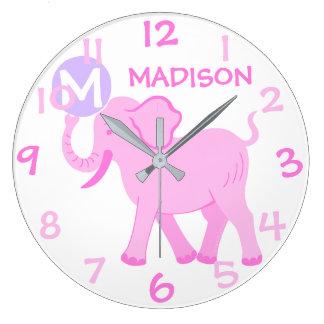 Relógio Grande Elefante cor-de-rosa dos desenhos animados do