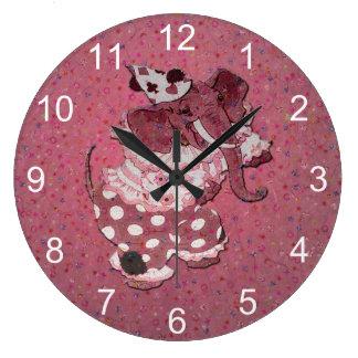 Relógio Grande Elefante retro cor-de-rosa do circo