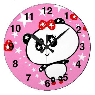 Relógio Grande Engraçado bonito dos ursos de panda personalizado