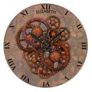 Relógio Grande Engrenagens oxidadas do metal de Steampunk com