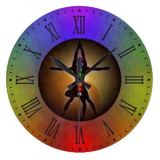 Relógio Grande Equilíbrio colorido de Chakras Yin Yang da ioga