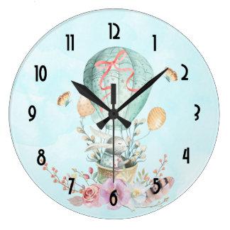 Relógio Grande Equitação lunática do coelho em um balão de ar