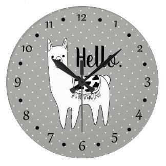 Relógio Grande Esboço na moda do lama & pontos brancos olá!