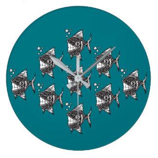 Relógio Grande Escola de peixes felizes