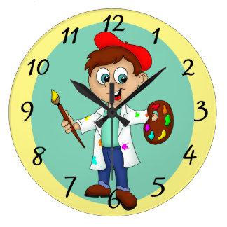Relógio Grande Escova do artista, da paleta e de pintura