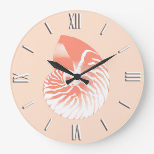 7ec4140cf92 Relógio Grande Escudo do nautilus - alaranjado e branco corais