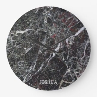 Relógio Grande Escuro - monograma de pedra de mármore cinzento e