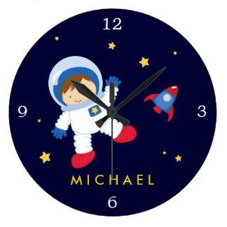 Relógio Grande Espaço do menino do astronauta temático