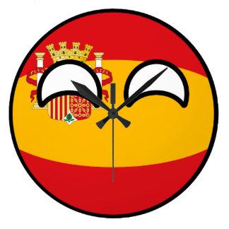 Relógio Grande Espanha Geeky de tensão engraçada Countryball