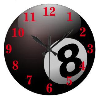 Relógio Grande Esportes da bola da piscina oito