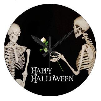 Relógio Grande Esqueletos o Dia das Bruxas feliz romântico