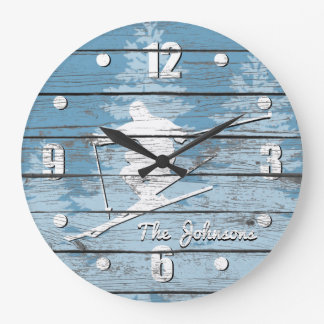 Relógio Grande Esqui em declive do olhar rústico seu texto