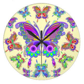 Relógio Grande Estilo colorido do tatuagem da borboleta